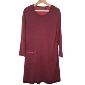 GUDRUN SJODEN Burgundy Organic Cotton Knit Dress L